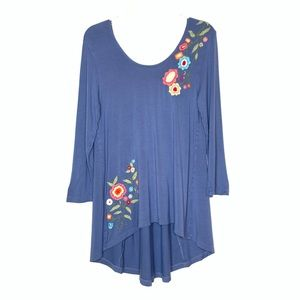 Caite Embroidered Hi-Lo Tunic in Blue Size S